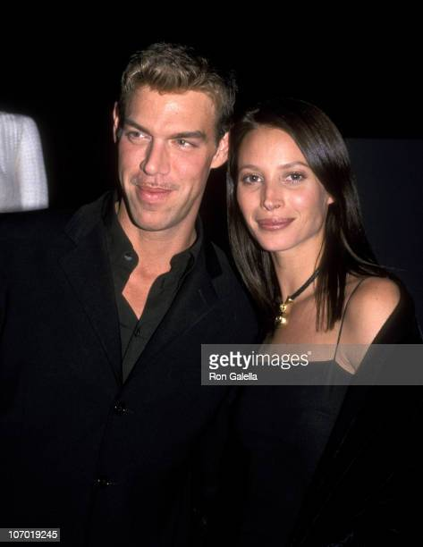 Kevyn Aucoin and Christy Turlington during Millennium Dresses Benefit Auction for Ovarian Cancer Research December 2 1999 at Roseland Ballroom in New...