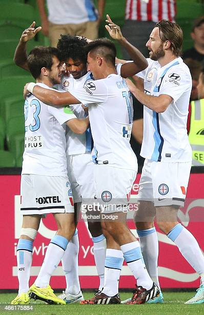 Kew Jaliens of Melbourne City celebrates a goal with teamates during the round 21 ALeague match between Melbourne City FC and the Newcastle Jets at...