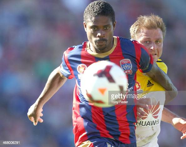 Kew Jaliens of the Jets contests the ball with his Phoenix opponent during the round 18 ALeague match between the Newcastle Jets and Wellington...