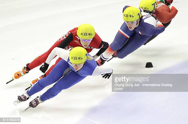 Kexin Fan of China Jessica Smith of United States and Veronique Pierron of France compete in the Ladies 1000mHeats during the ISU World Short Track...