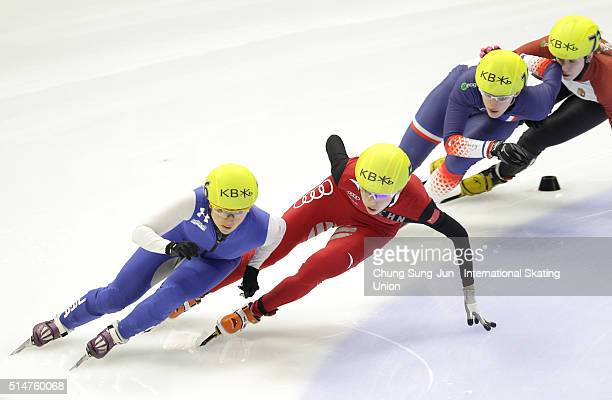 Kexin Fan of China Jessica Smith of United States Veronique Pierron of France and Sara Luca Bacskai of Hungray compete in the Ladies 1000mHeats...