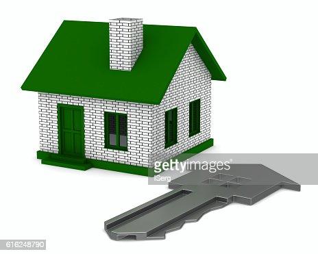 Chave e casa no fundo branco. 3 D Imagem : Foto de stock
