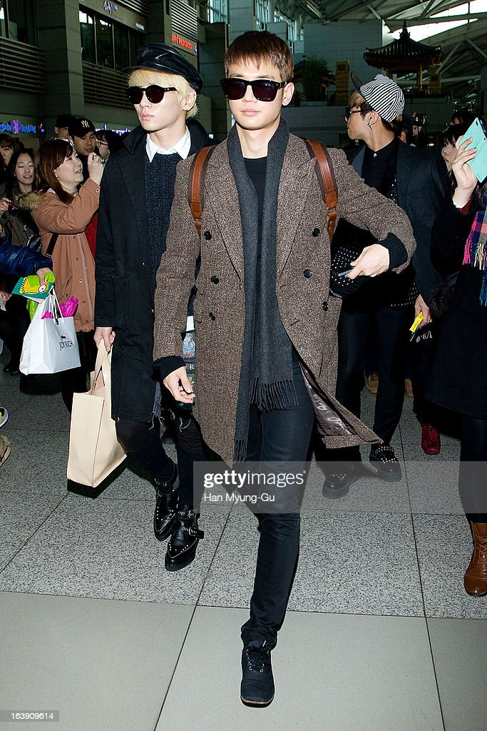 <a gi-track='captionPersonalityLinkClicked' href=/galleries/search?phrase=Key+-+Korean+Singer&family=editorial&specificpeople=12538635 ng-click='$event.stopPropagation()'>Key</a> and Minho of South Korean boy band SHINee are seen on departure at Incheon International Airport on March 15, 2013 in Incheon, South Korea.