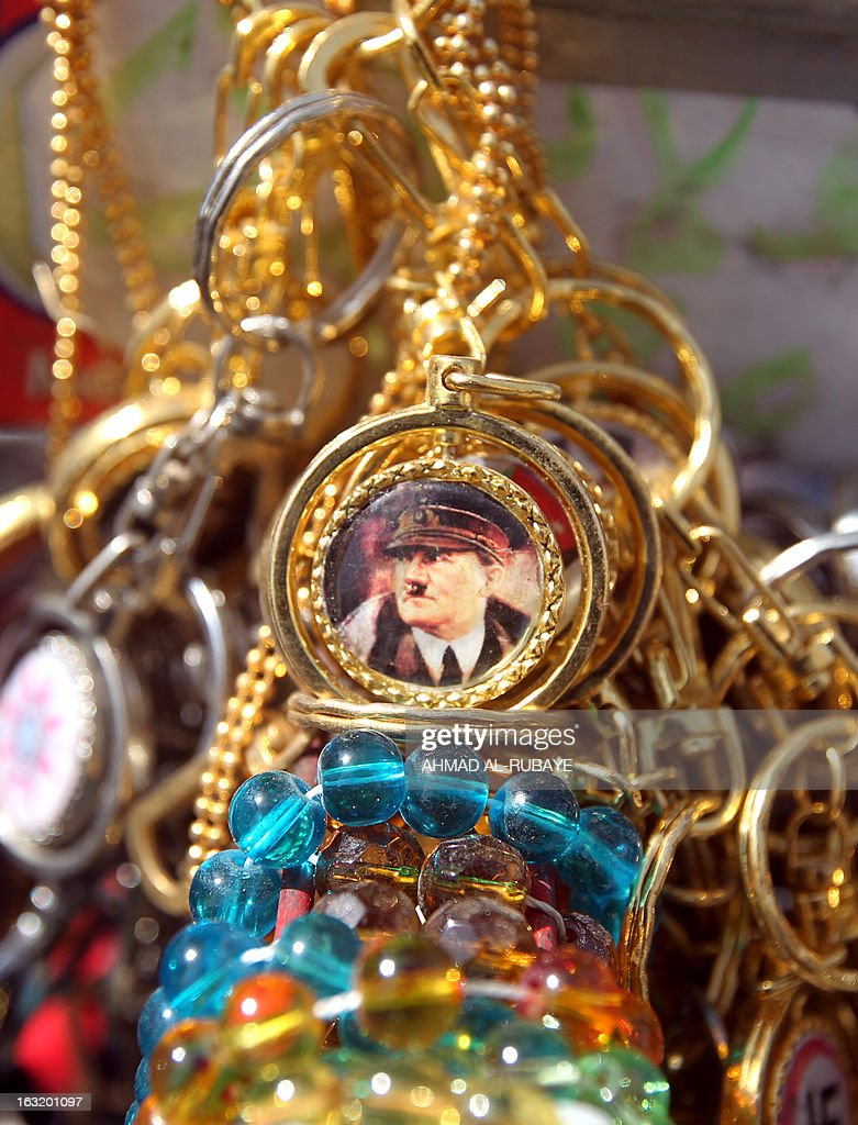 A key chain bearing the image of Adolf Hitler is displayed at a street vendor in the 300-year-old Souk al-Haraj (Haraj market) in Midan Square in old Baghdad on March 6, 2013.