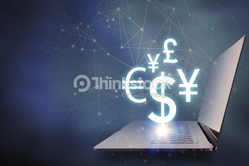 Key Currency Symbols Floating On Laptop Pc Financial Technology