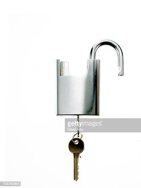 Key in padlock
