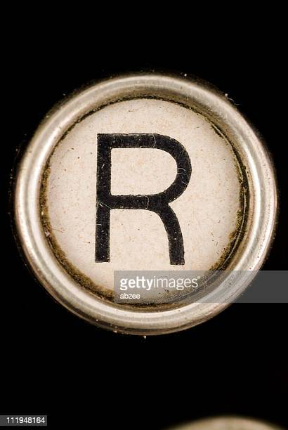 R key of a full alphabet from grungey typewriter