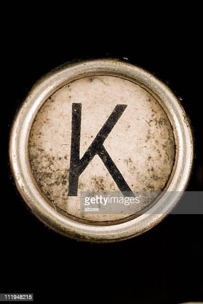 K key de un alfabeto de grungey de máquina de escribir