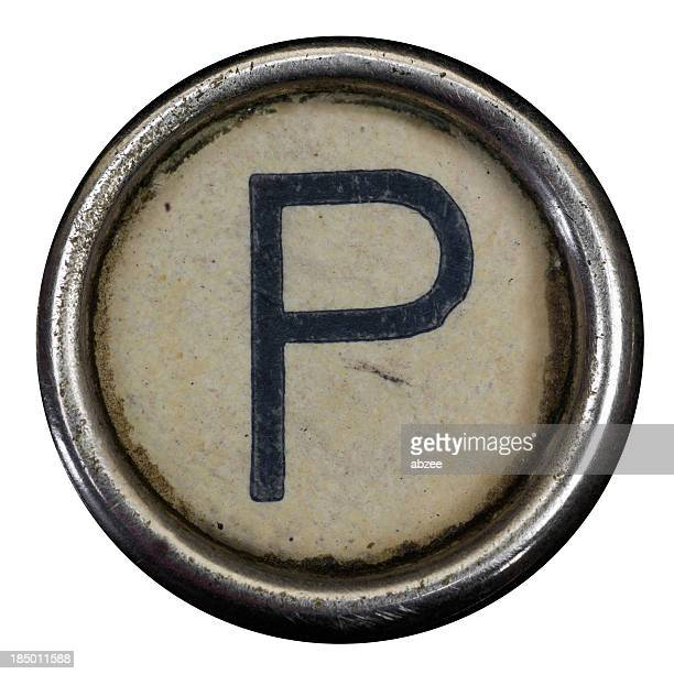 P key of a full alphabet from grungey typewriter