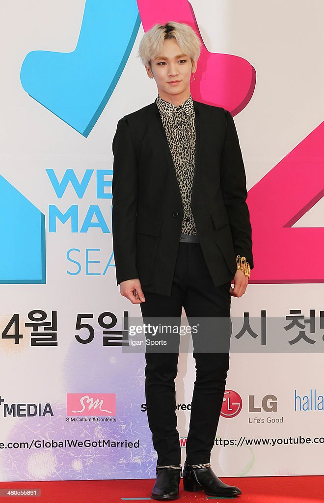 Key of SHINee poses for photographs during the MBC 'We Got Married' global edition season 2 press conference at MBC Dream Center on March 20, 2014 in Seoul, South Korea.