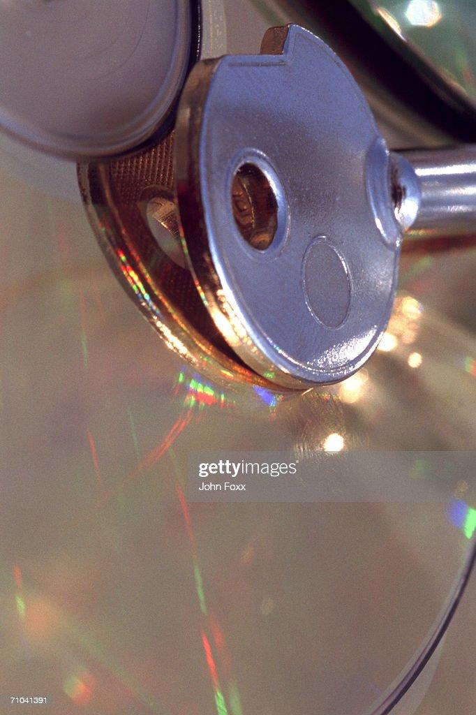 key on cd-rom : Stock Photo