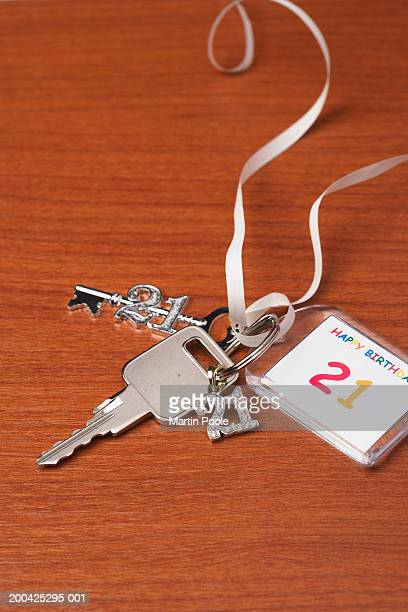 Key on twenty first birthday keyring with charms