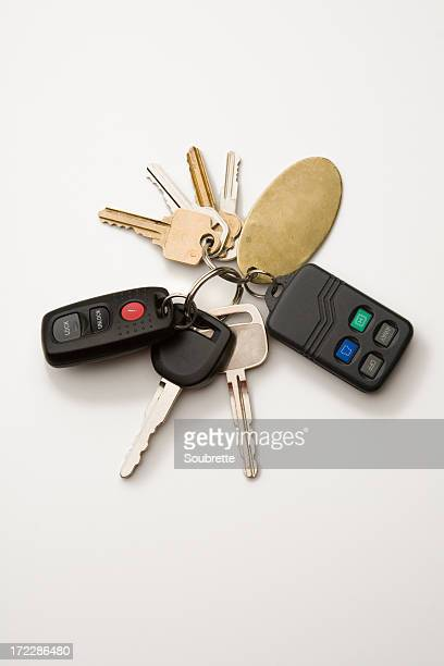 Key ring with car keys and immobilizer on white background