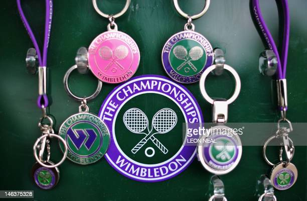Key rings are pictured for sale on the third day of the 2011 Wimbledon Tennis Championships at the All England Tennis Club in southwest London on...