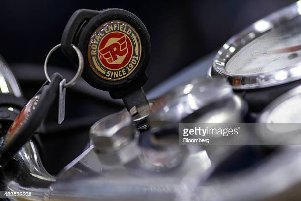 A key sits in the ignition switch of a Royal Enfield Motors Ltd Classic 350 motorcycle on the production line at the company's manufacturing facility...