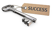 Vintage Steel Key and Tag label with the text Success. 3D render.