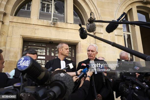 Key witness French lawyers JeanPaul Teissonniere and Christophe Ballorin address the media outside the courthouse of Dijon on July 28 2017 Murielle...