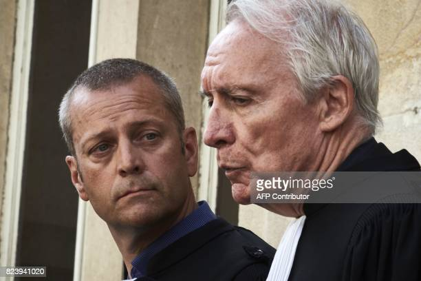 Key witness' French lawyers JeanPaul Teissonniere and Christophe Ballorin address the media outside the courthouse of Dijon on July 28 2017 Murielle...