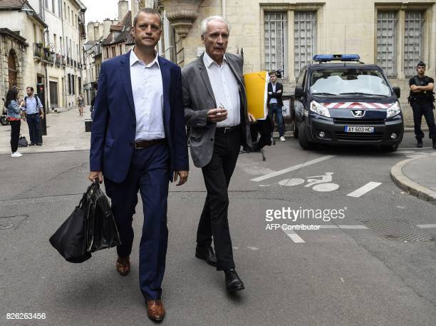Key witness Murielle Bolle's French lawyers JeanPaul Teissonniere and Christophe Ballorin arrive at the Court of Appeal in Dijon on August 4 2017...