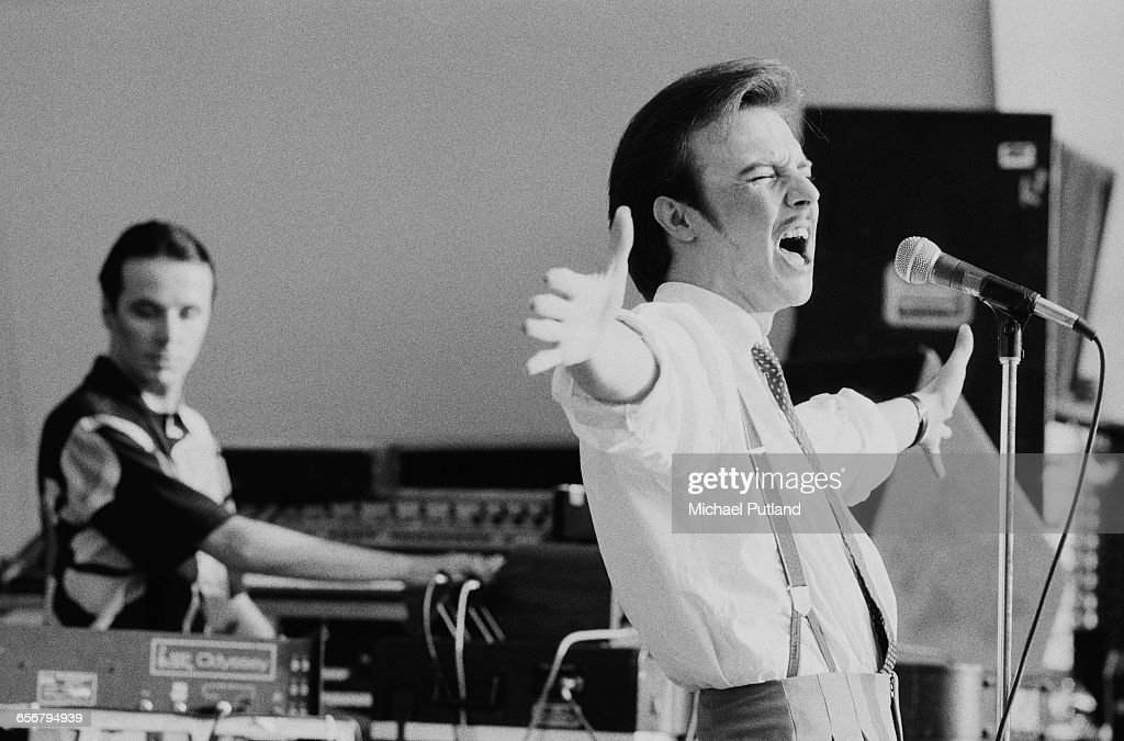 Keyboard player Billy Currie and singer Midge Ure performing with British new wave band Ultravox at the 'Summer In The City' festival at Crystal...