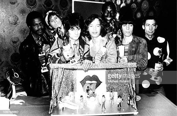 Keyboard player Billy Preston guitarists Keith Richards Ronnie Wood singer Mick Jagger percussionist Ollie Brown bassist Bill Wyman and drummer...