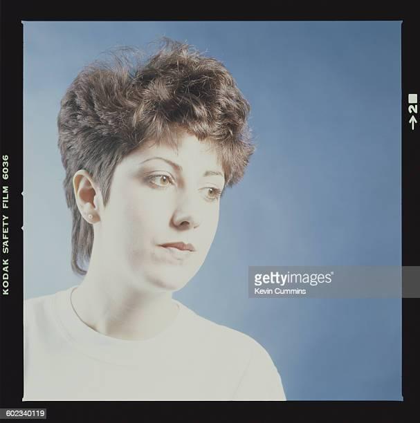 Keyboard player Gillian Gilbert of English rock group New Order circa 1985