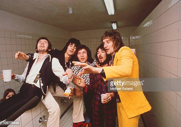 Keyboard player Ian McLagan guitarist Ronnie Wooddrummer Kenney Jones bassist Ronnie Lane and singer Rod Stewart of the Faces circa 1971