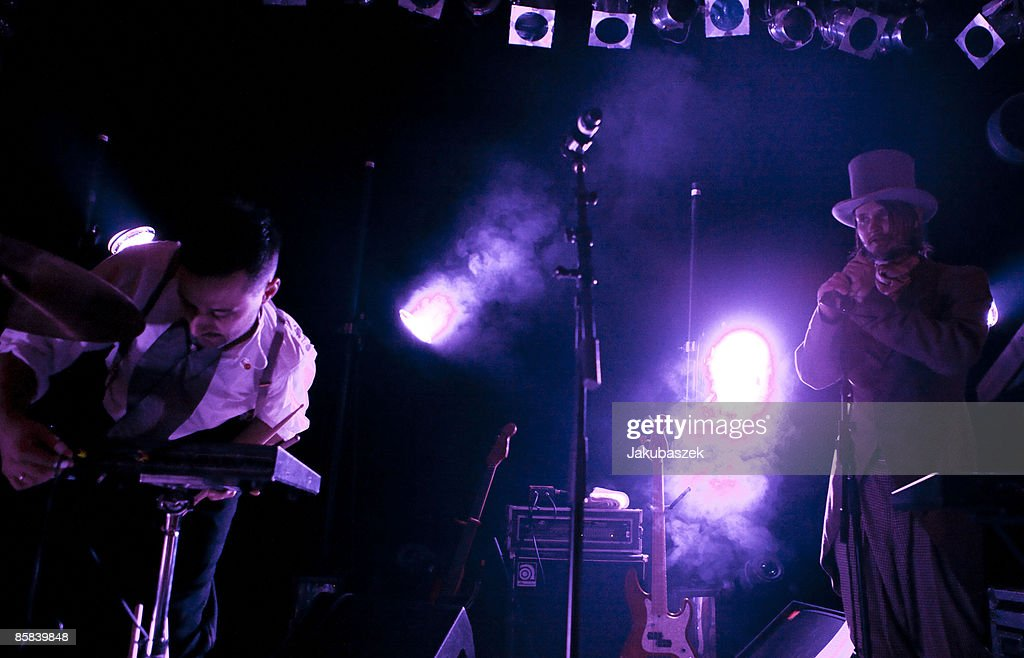 Keyboarder Svein Berge (L) and Torbjorn Brundtland (R) of the Norwegian Electro Pop band Royksopp perform live during a concert at the Lido Club on April 7, 2009 in Berlin, Germany. The concert is part of the 2009 tour which promotes the album 'Junior'.