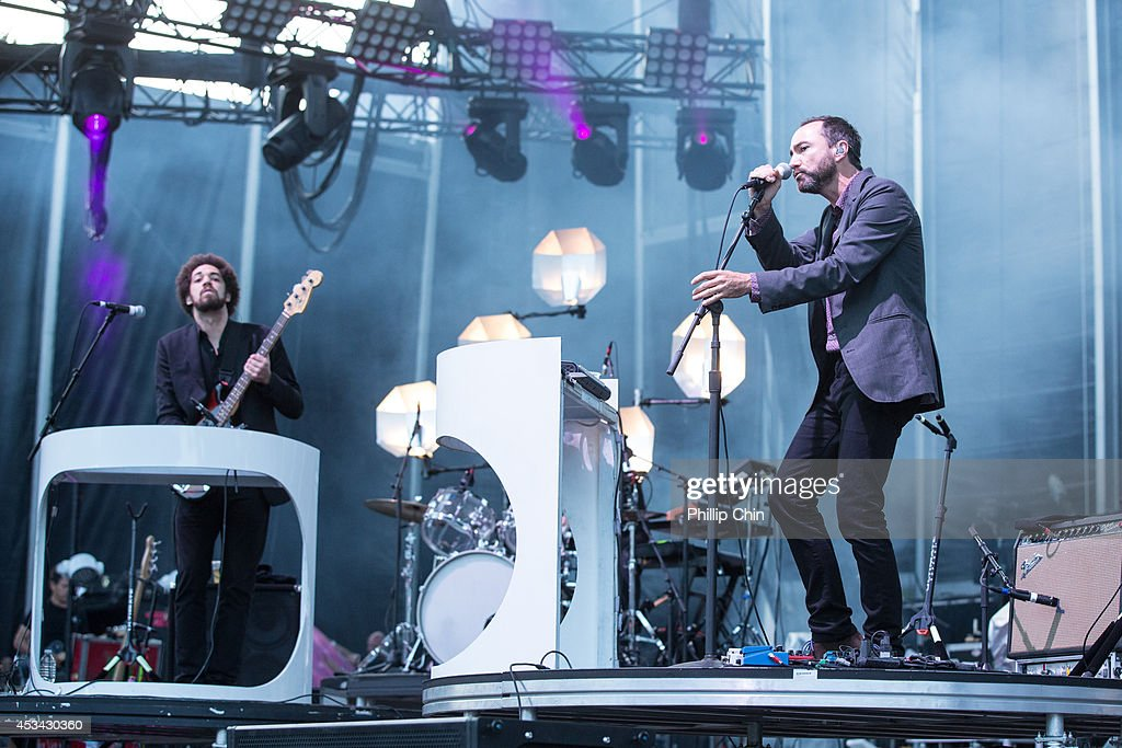 keyboardist Brian Burton and singer James Mercer of Broken Bells perform at the Squamish Valley Music Festival on August 9, 2014 in Squamish, Canada.
