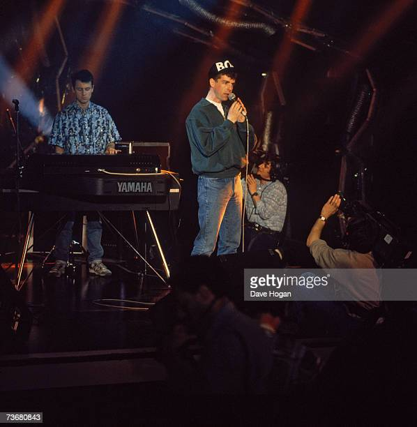 Keyboardist Chris Lowe and singer Neil Tennant of English Synthpop duo the Pet Shop Boys performing on stage at Montreux Switzerland 1986