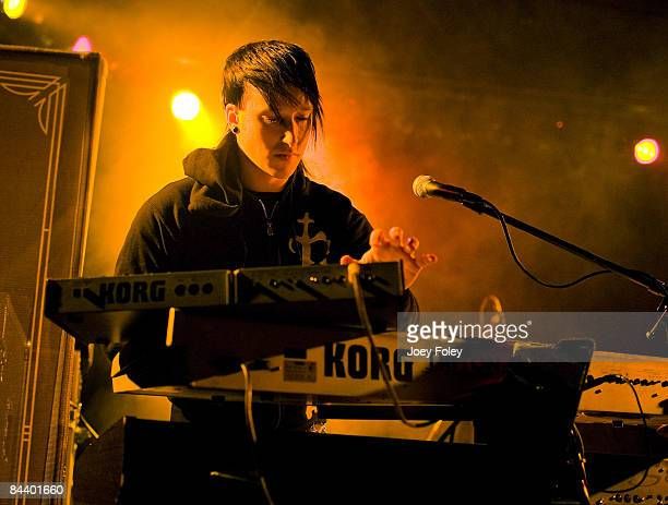 Keyboardist Justin Carpenter of the American rock band The Becoming performs at The Music Mill on January 20 2009 in Indianapolis