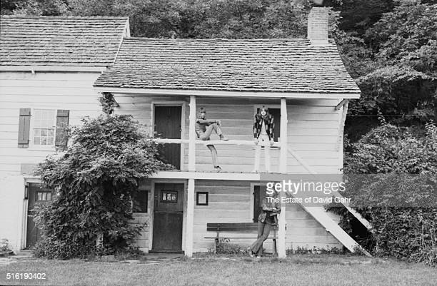 Keyboardist Keith Emerson bassist Greg Lake and drummer Carl Palmer of progressive rock group Emerson Lake and Palmer pose for a portrait in August...