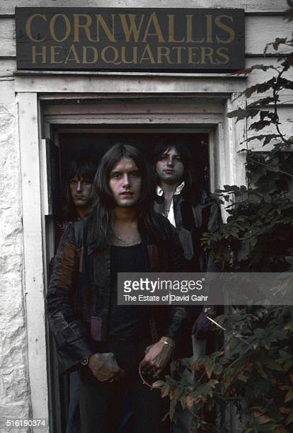 Keyboardist Keith Emerson drummer Carl Palmer and bassist Greg Lake of progressive rock group Emerson Lake and Palmer pose for a portrait in August...