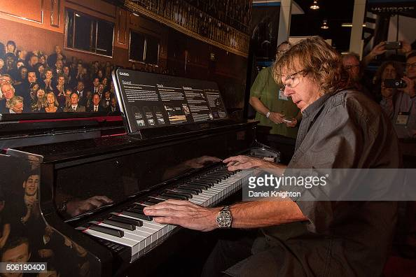 Keyboardist Keith Emerson of Emerson Lake Palmer performs at the Casio booth at NAMM Show Day 1 at Anaheim Convention Center on January 21 2016 in...