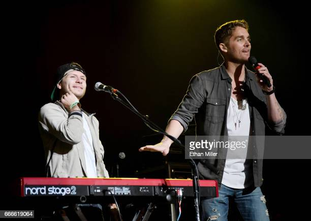 Keyboardist Kyle Schlienger and singer Brett Young perform during the ACM Party For A Cause The Joint at The Joint inside the Hard Rock Hotel Casino...