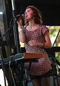 Keyboardist Leanne Macomber of Neon Indian performs during the 2010 Pitchfork Music Festival at Union Park on July 18 2010 in Chicago Illinois