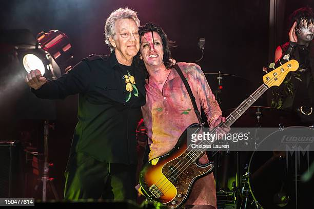 Keyboardist Ray Manzarek of The Doors and guitarist Twiggy Ramirez of Marilyn Manson perform on day 3 of the Sunset Strip Music Festival on August 18...