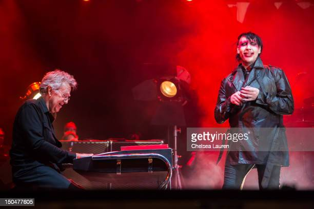 Keyboardist Ray Manzarek of The Doors performs with vocalist Marilyn Manson on day 3 of the Sunset Strip Music Festival on August 18 2012 in West...
