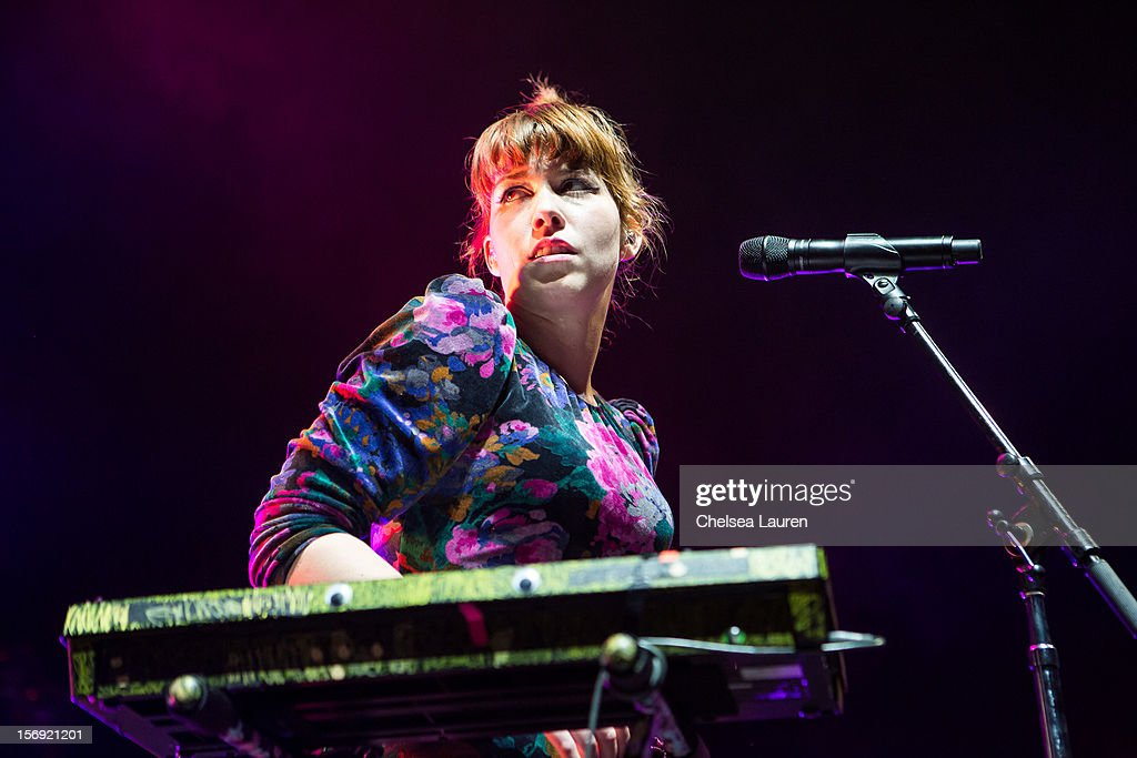 Keyboardist / vocalist Hannah Hooper of Grouplove performs at Gibson Amphitheatre on November 24, 2012 in Universal City, California.