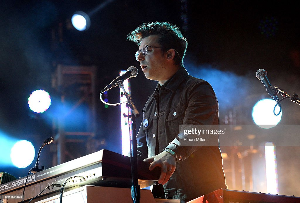 Keyboardist/guitarist Ian Hultquist of Passion Pit performs during the Life is Beautiful festival on October 27, 2013 in Las Vegas, Nevada.