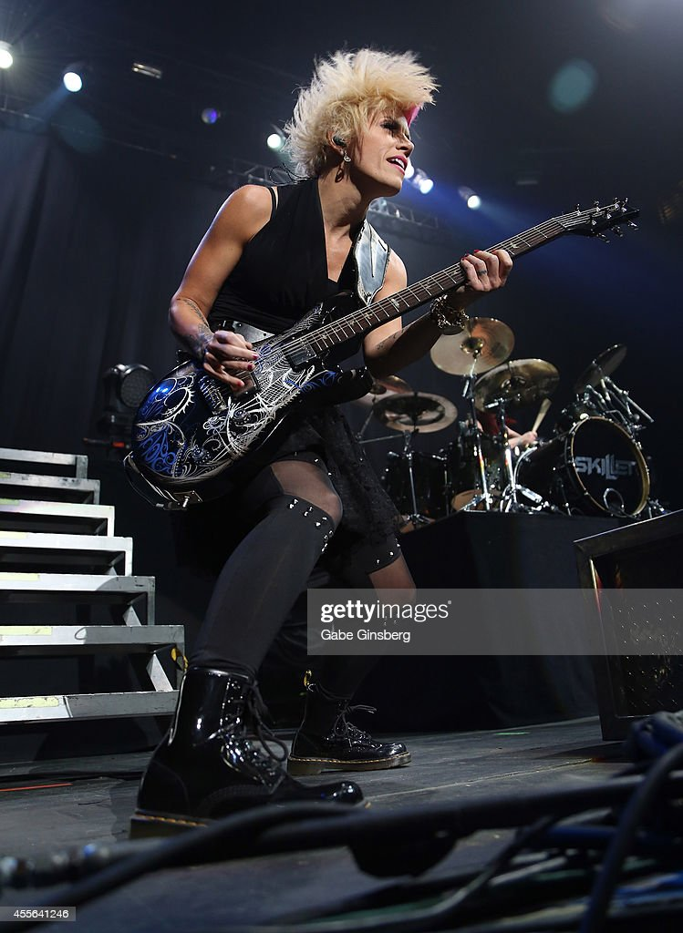 Keyboardist/guitarist Korey Cooper of Skillet performs during the 2014 Rockstar Energy Uproar Festival at The Joint inside the Hard Rock Hotel Casino...
