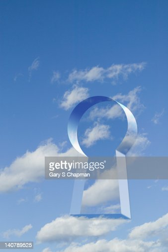 Keyhole graphic in sky : Stock Photo