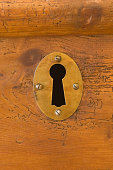Keyhole in wooden chest