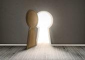Keyhole shaped doorway in dark grey room