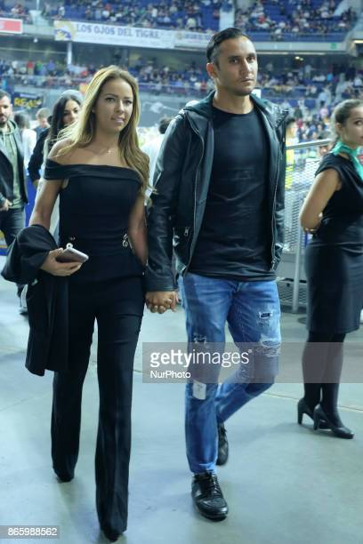 Keylor Navas and Andrea Salas during the 2017/2018 Turkish Airlines Euroleague Regular Season Round 3 game between Real Madrid v AX Armani Exchange...