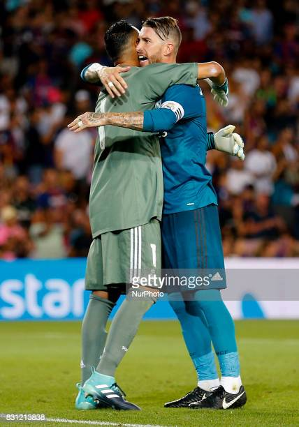 Keylor Navas and Sergio Ramos during the spanish Super Cup match between FC Barcelona v Real Madrid in Barcelona on August 13 2017