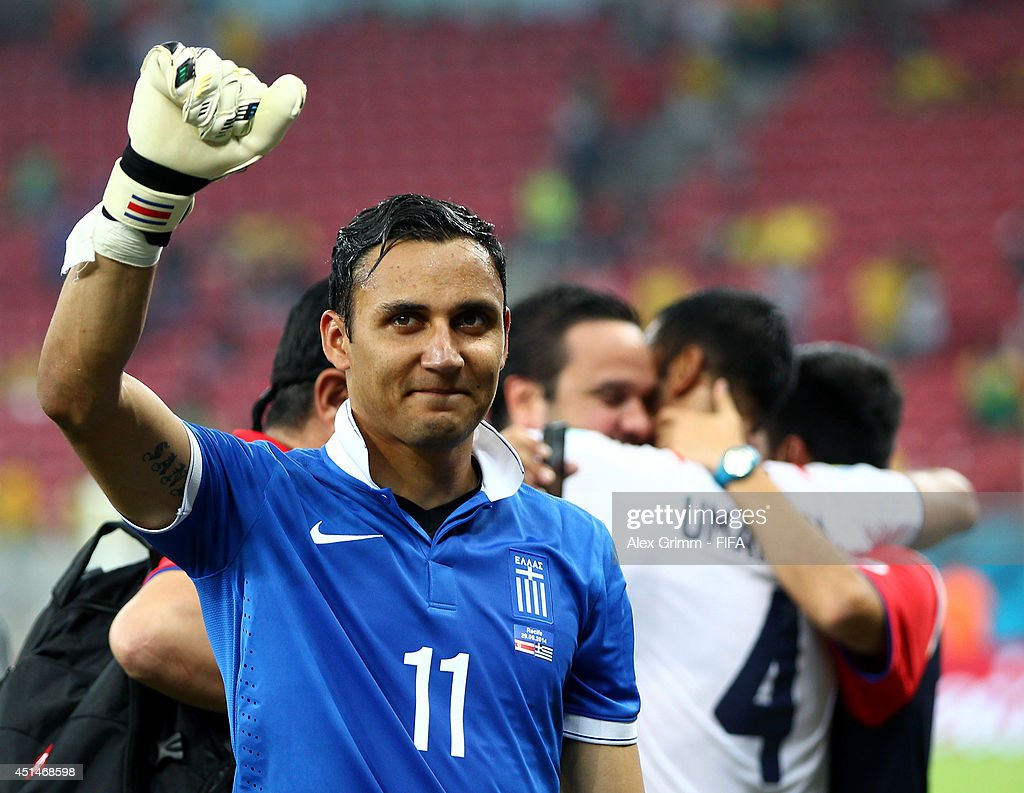 Keylor Navas of Costa Rica celebrates the win after the 2014 FIFA World Cup Brazil Round of 16 match between Costa Rica and Greece at Arena Pernambuco on June 29, 2014 in Recife, Brazil.