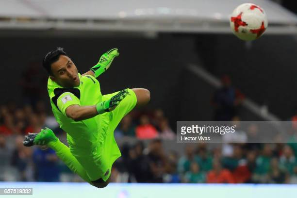 Keylor Navas of Costa Rica dives for the ball during the fifth round match between Mexico and Costa Rica as part of the FIFA 2018 World Cup...