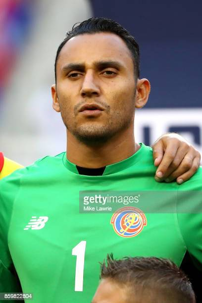 Keylor Navas of Costa Rica looks on during the national anthem before the game against the United States during the FIFA 2018 World Cup Qualifier at...
