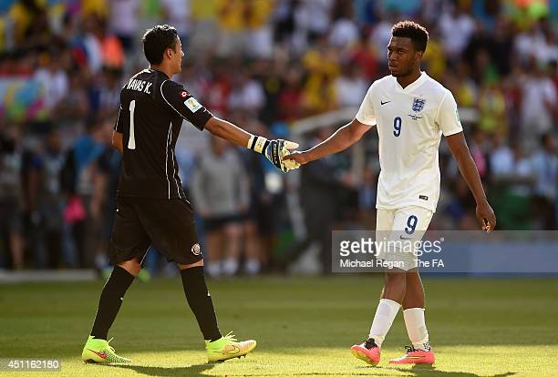 Keylor Navas of Costa Rica shakes hands with Daniel Sturridge of England after a 00 draw during the 2014 FIFA World Cup Brazil Group D match between...